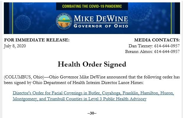 Health Order Signed